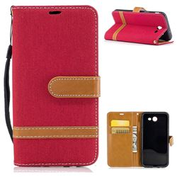 Jeans Cowboy Denim Leather Wallet Case for Samsung Galaxy J3 2017 J330 - Red