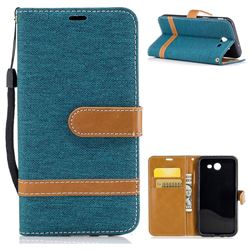 Jeans Cowboy Denim Leather Wallet Case for Samsung Galaxy J3 2017 J330 - Green