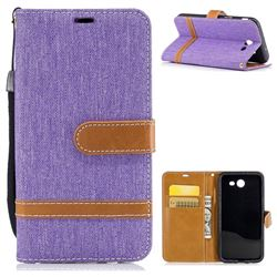 Jeans Cowboy Denim Leather Wallet Case for Samsung Galaxy J3 2017 J330 - Purple