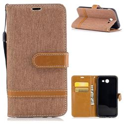 Jeans Cowboy Denim Leather Wallet Case for Samsung Galaxy J3 2017 J330 - Brown