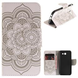 White Flowers PU Leather Wallet Case for Samsung Galaxy J3 2017 J330