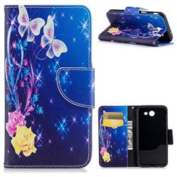 Yellow Flower Butterfly Leather Wallet Case for Samsung Galaxy J3 2017 J330