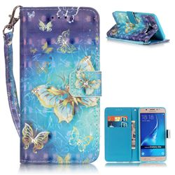 Gold Butterfly 3D Painted Leather Wallet Case for Samsung Galaxy J5 2016 J510