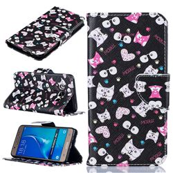 Cute Black Cat Leather Wallet Case for Samsung Galaxy J5 2016 J510