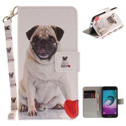 Pug Dog Hand Strap Leather Wallet Case for Samsung Galaxy J5 2016 J510