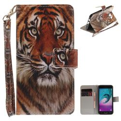 Siberian Tiger Hand Strap Leather Wallet Case for Samsung Galaxy J5 2016 J510