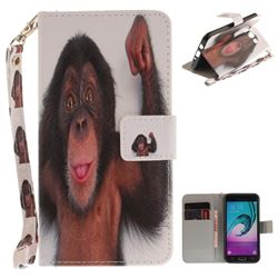Cute Monkey Hand Strap Leather Wallet Case for Samsung Galaxy J5 2016 J510