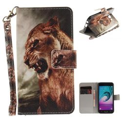 Majestic Lion Hand Strap Leather Wallet Case for Samsung Galaxy J5 2016 J510