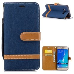 Jeans Cowboy Denim Leather Wallet Case for Samsung Galaxy J5 2016 J510 - Dark Blue