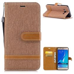 Jeans Cowboy Denim Leather Wallet Case for Samsung Galaxy J5 2016 J510 - Brown