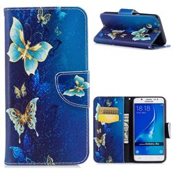 Golden Butterflies Leather Wallet Case for Samsung Galaxy J5 2016 J510