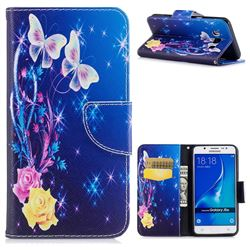 Yellow Flower Butterfly Leather Wallet Case for Samsung Galaxy J5 2016 J510