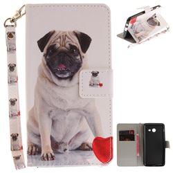 Pug Dog Hand Strap Leather Wallet Case for Samsung Galaxy J5 2017 J530