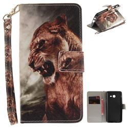 Majestic Lion Hand Strap Leather Wallet Case for Samsung Galaxy J5 2017 J530