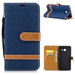 Jeans Cowboy Denim Leather Wallet Case for Samsung Galaxy J5 2017 J530 - Dark Blue