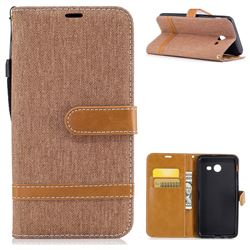 Jeans Cowboy Denim Leather Wallet Case for Samsung Galaxy J5 2017 J530 - Brown