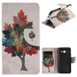 Colored Tree PU Leather Wallet Case for Samsung Galaxy J5 2017 J530