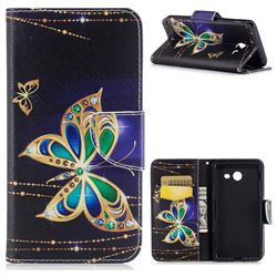 Golden Shining Butterfly Leather Wallet Case for Samsung Galaxy J5 2017 J530