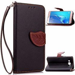 Leaf Buckle Litchi Leather Wallet Phone Case for Samsung Galaxy J7 2016 J710 - Black