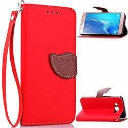 Leaf Buckle Litchi Leather Wallet Phone Case for Samsung Galaxy J7 2016 J710 - Red