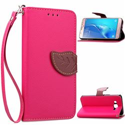 Leaf Buckle Litchi Leather Wallet Phone Case for Samsung Galaxy J7 2016 J710 - Rose