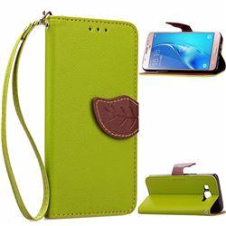 Leaf Buckle Litchi Leather Wallet Phone Case for Samsung Galaxy J7 2016 J710 - Green