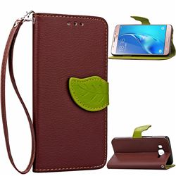 Leaf Buckle Litchi Leather Wallet Phone Case for Samsung Galaxy J7 2016 J710 - Brown