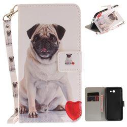 Pug Dog Hand Strap Leather Wallet Case for Samsung Galaxy J7 2017 J730