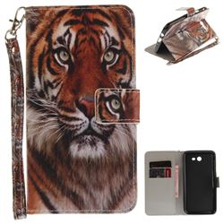 Siberian Tiger Hand Strap Leather Wallet Case for Samsung Galaxy J7 2017 J730