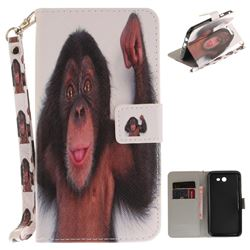 Cute Monkey Hand Strap Leather Wallet Case for Samsung Galaxy J7 2017 J730