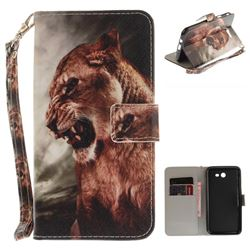 Majestic Lion Hand Strap Leather Wallet Case for Samsung Galaxy J7 2017 J730