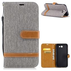 Jeans Cowboy Denim Leather Wallet Case for Samsung Galaxy J7 2017 J730 - Gray