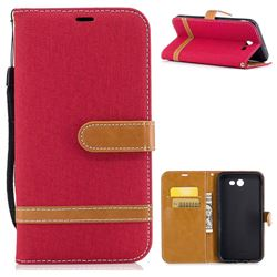 Jeans Cowboy Denim Leather Wallet Case for Samsung Galaxy J7 2017 J730 - Red