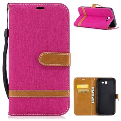 Jeans Cowboy Denim Leather Wallet Case for Samsung Galaxy J7 2017 J730 - Rose