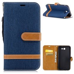 Jeans Cowboy Denim Leather Wallet Case for Samsung Galaxy J7 2017 J730 - Dark Blue