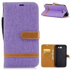 Jeans Cowboy Denim Leather Wallet Case for Samsung Galaxy J7 2017 J730 - Purple
