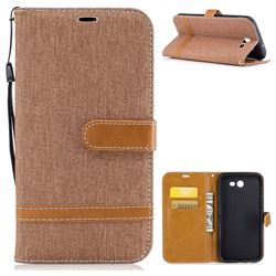 Jeans Cowboy Denim Leather Wallet Case for Samsung Galaxy J7 2017 J730 - Brown