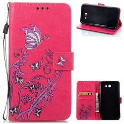 Embossing Narcissus Butterfly Leather Wallet Case for Samsung Galaxy J7 2017 J730 - Rose