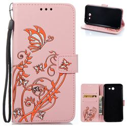 Embossing Narcissus Butterfly Leather Wallet Case for Samsung Galaxy J7 2017 J730 - Pink