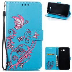 Embossing Narcissus Butterfly Leather Wallet Case for Samsung Galaxy J7 2017 J730 - Blue