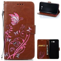 Embossing Narcissus Butterfly Leather Wallet Case for Samsung Galaxy J7 2017 J730 - Brown
