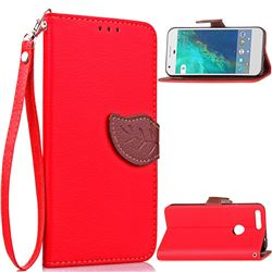 Leaf Buckle Litchi Leather Wallet Phone Case for Google Pixel - Red