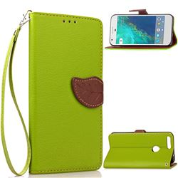 Leaf Buckle Litchi Leather Wallet Phone Case for Google Pixel - Green