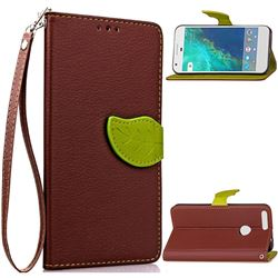 Leaf Buckle Litchi Leather Wallet Phone Case for Google Pixel XL - Brown
