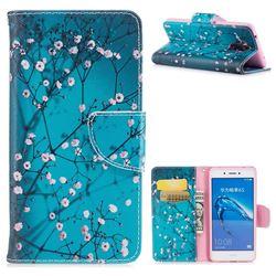 Blue Plum Leather Wallet Case for Huawei Enjoy 6s Honor 6C Nova Smart