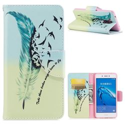 Feather Bird Leather Wallet Case for Huawei Enjoy 6s Honor 6C Nova Smart
