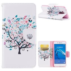 Colorful Tree Leather Wallet Case for Huawei Enjoy 6s Honor 6C Nova Smart