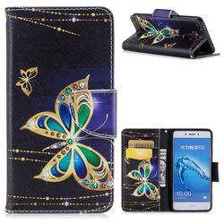 Golden Shining Butterfly Leather Wallet Case for Huawei Enjoy 6s Honor 6C Nova Smart