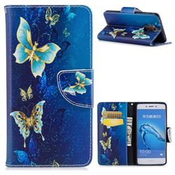 Golden Butterflies Leather Wallet Case for Huawei Enjoy 6s Honor 6C Nova Smart