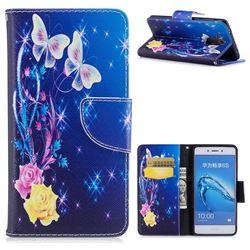 Yellow Flower Butterfly Leather Wallet Case for Huawei Enjoy 6s Honor 6C Nova Smart
